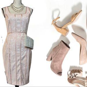 EUC Cachè Peach Lace Overlay Bodycon Dress 🍑